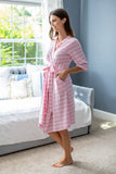 Pink Stripe Robe & Swaddle Blanket Set