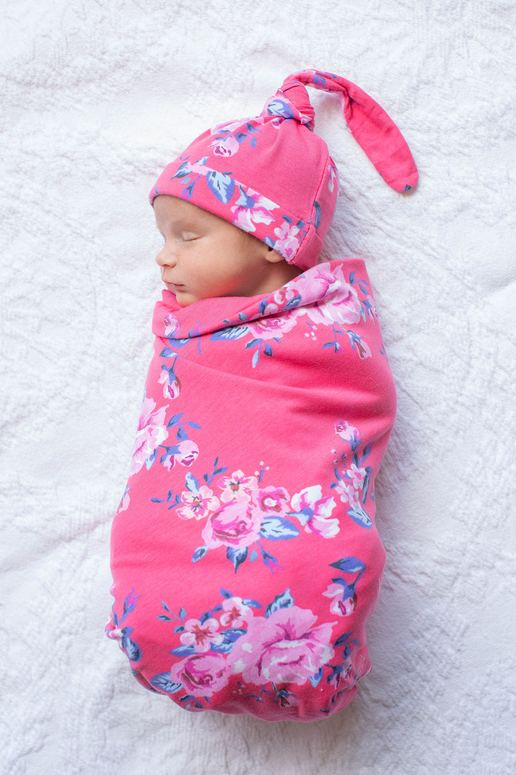 Rose printed swaddle - double-lined and ultra soft for the newborn!