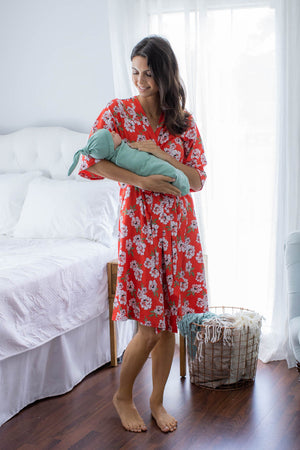 Sadie Delivery Robe & Sage Green Swaddle Blanket Set