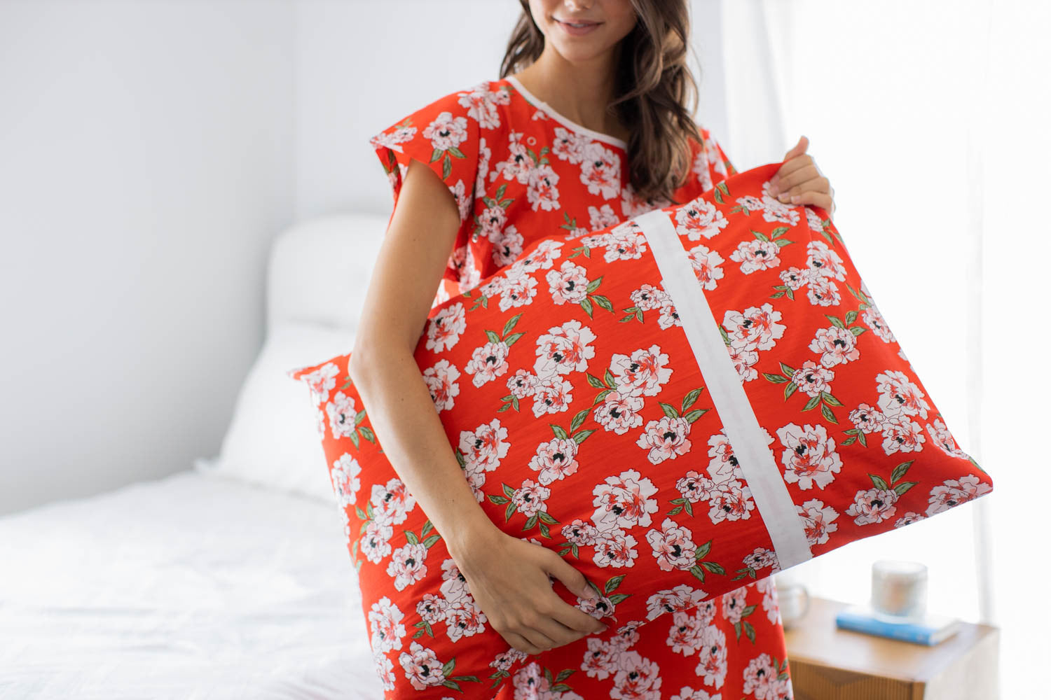 Sadie print pillowcase. Brighten up your hospital stay with a bright red cotton pillowcase.