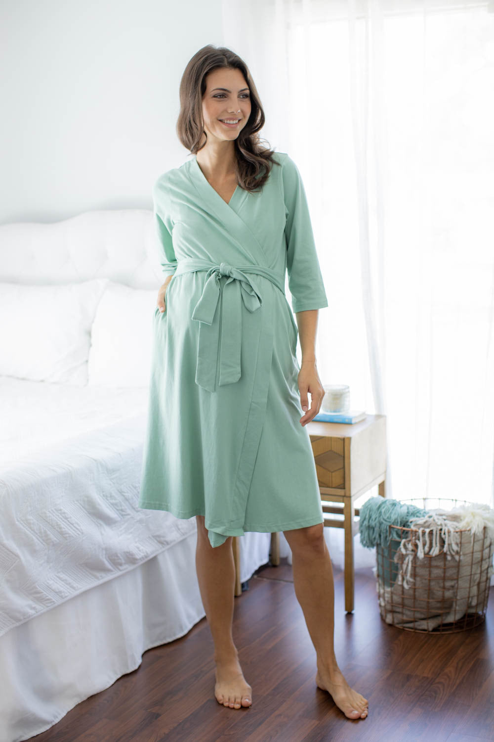 Sage Robe & Rainbow Knotted Baby Gown Set