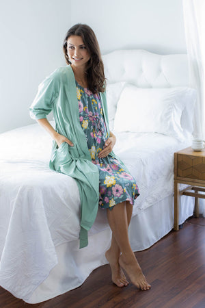 Sage Green Robe & Charlotte 3 in 1 Labor Gown Set