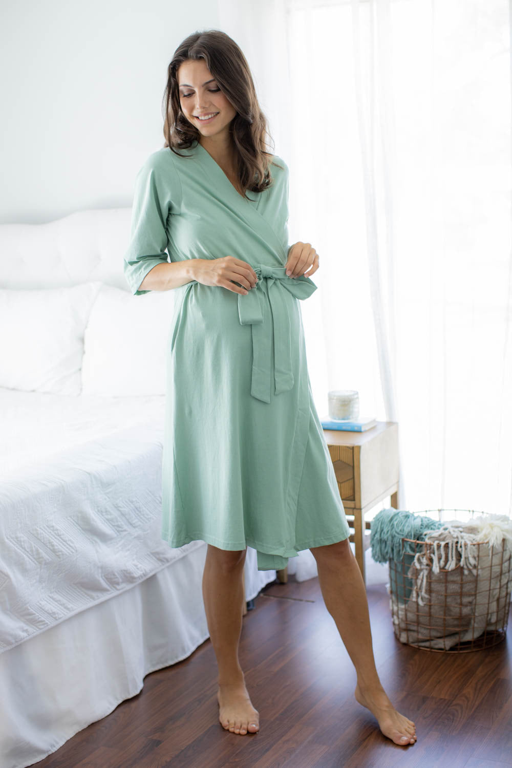 Sage Green Robe & Jade 3 in 1 Labor Gown Set