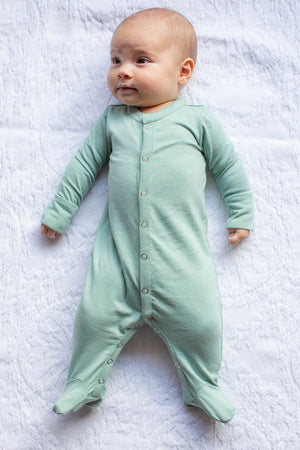 Sage One Piece Footed Baby Romper