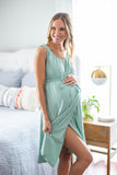 Sage labor gown - a light green neutral gown intended for ease of labor and breastfeeding. Snap shoulders and back allow for full coverage and ease of feeing. Adjustable, elastic waist aids in comfort for your big day.