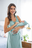 Sage Green 3 in 1 Labor Gown & Baby Swaddle Blanket Set