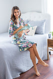 Relax in your robe as you swaddle your baby in a Sage swaddle blanket.