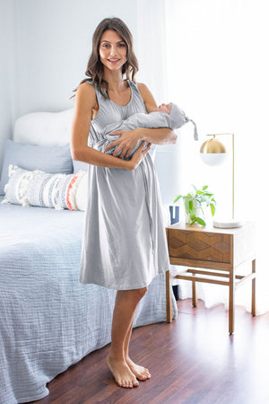 Grey Labor Gown & Matching Swaddle Blanket Set