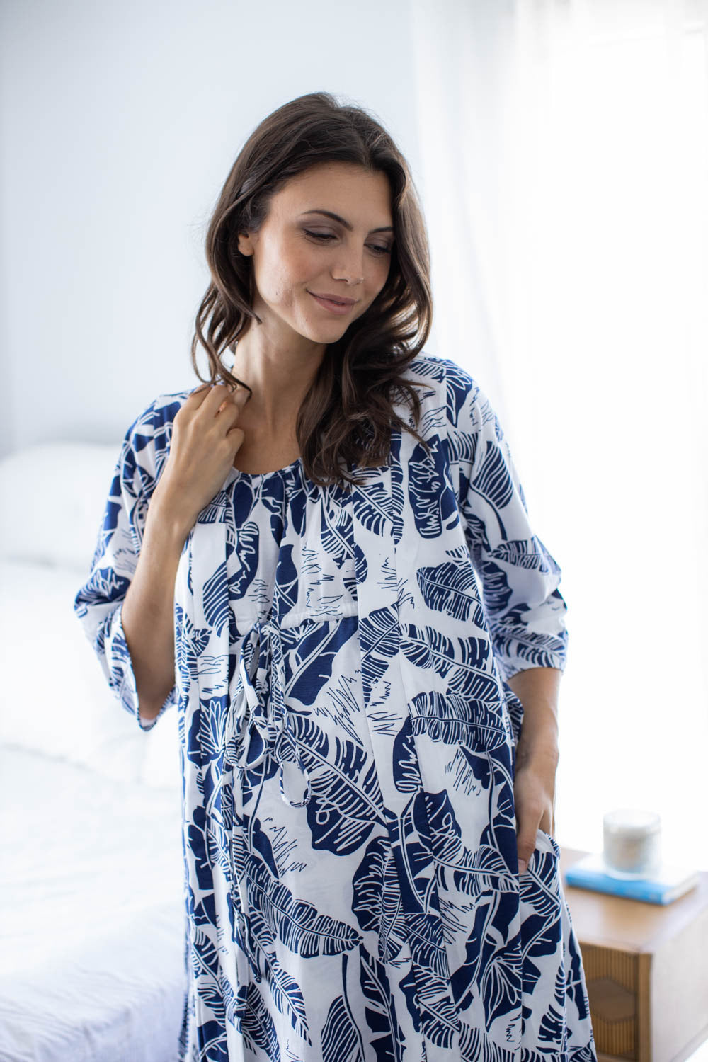 Serra Racerback Maternity Nurisng Nightgown & Solid Navy Blue Robe Set