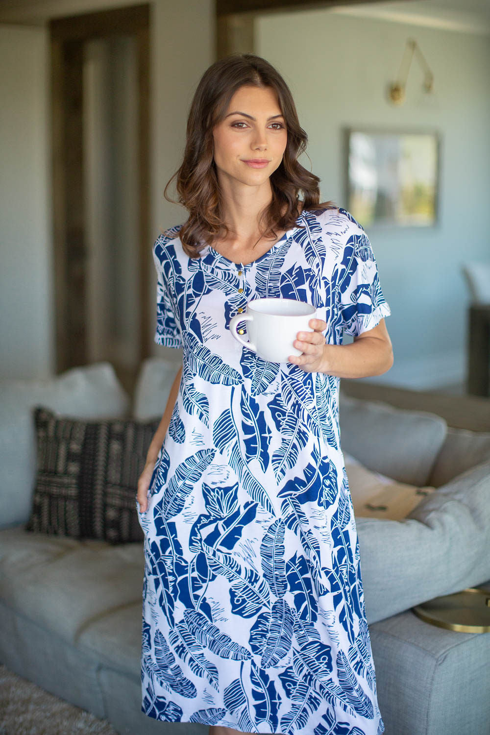 Serra Endless Mama Maternity/Nursing Lounge Dress & Navy Swaddle Blanket Set