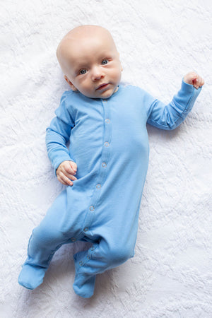 Sky Blue Baby One Piece Footed Romper