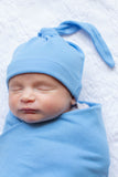 Sky Blue Baby Swaddle Blanket and Hat Set