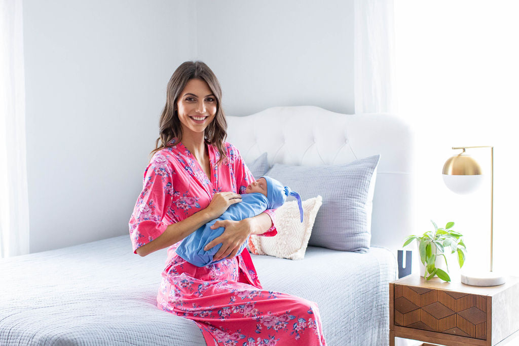 Rose Robe & Sky Blue Baby Boy Swaddle Blanket Set