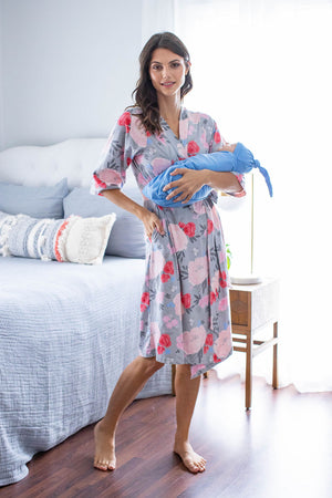 Sophie Delivery Robe & Sky Blue Swaddle Blanket Set