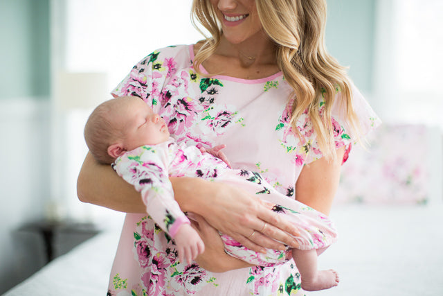 Amelia Maternity Delivery Gown Gownie & Baby Receiving Gown Set