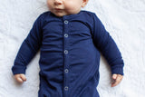 Navy Blue One Piece Footed Baby Romper