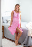 Pink 3 in 1 Maternity Labor Gown & Matching Rose Robe