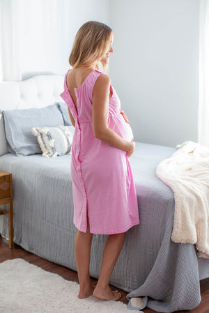 Pink 3 in 1 Maternity Labor & Delivery Gown