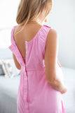Pink 3 in 1 Maternity Labor Gown & Matching Sophie Robe