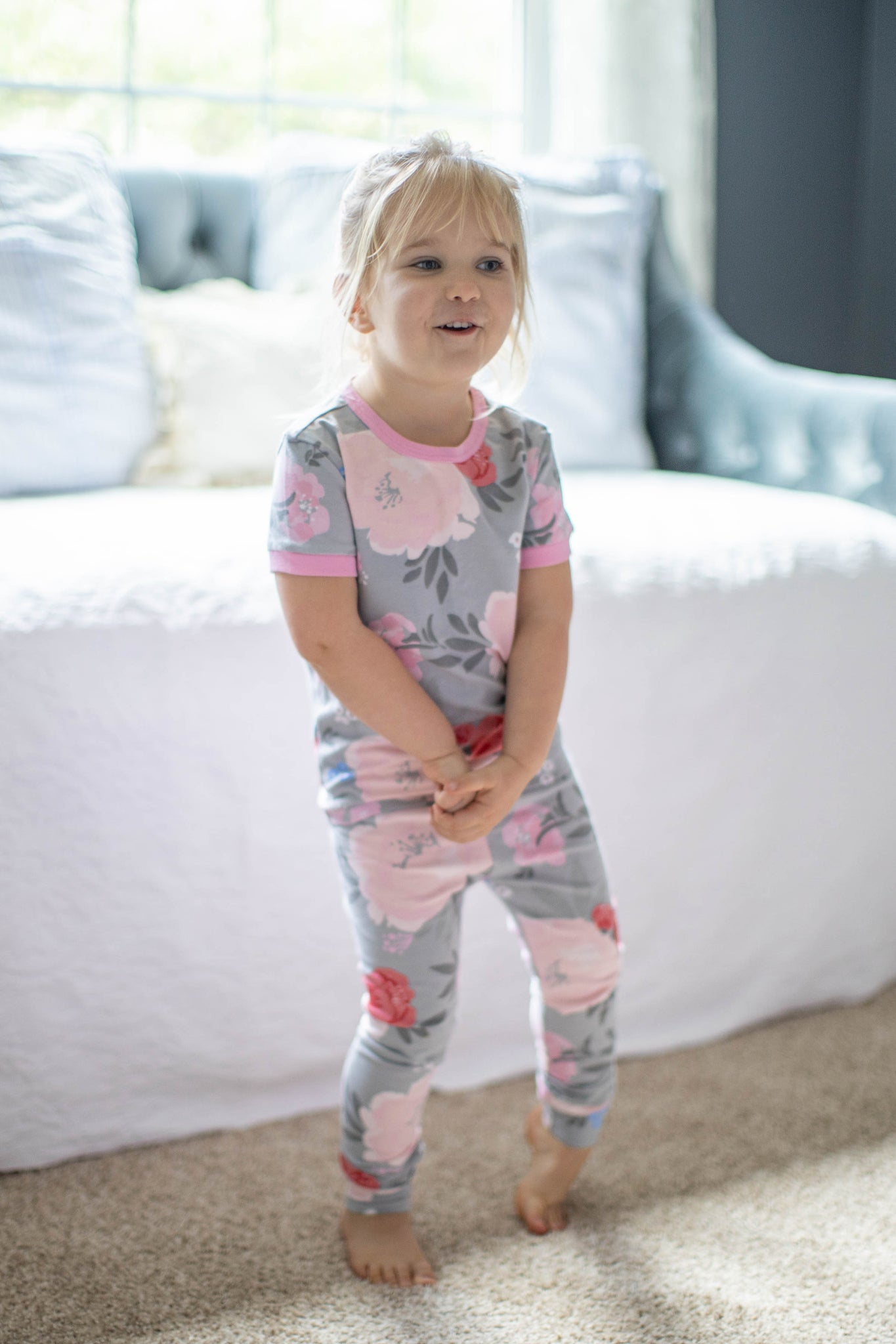 Gray Floral Big Sister Little Girls Pajama Set Mommy And