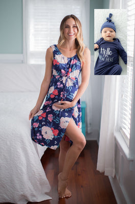 Annabelle Labor Gown & Navy Hello I'm new here Baby Gown Set
