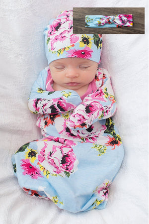 Isla Baby Receiving Gown Set & Matching Headband