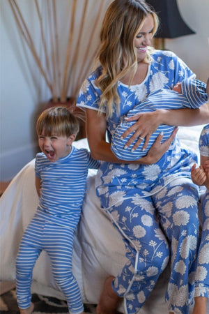 Zoe Floral Mom Pajamas & Big Brother Stripe Pajamas & Stripe Swaddle Blanket Set