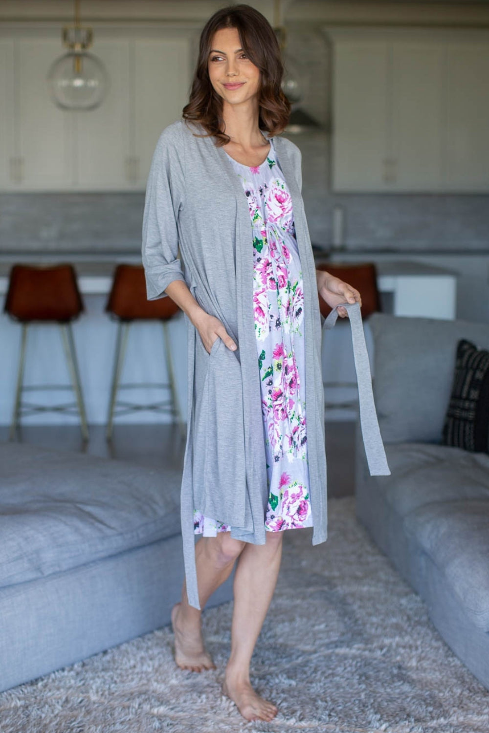 Olivia Labor Gown & Light Heather Grey Delivery Robe Set