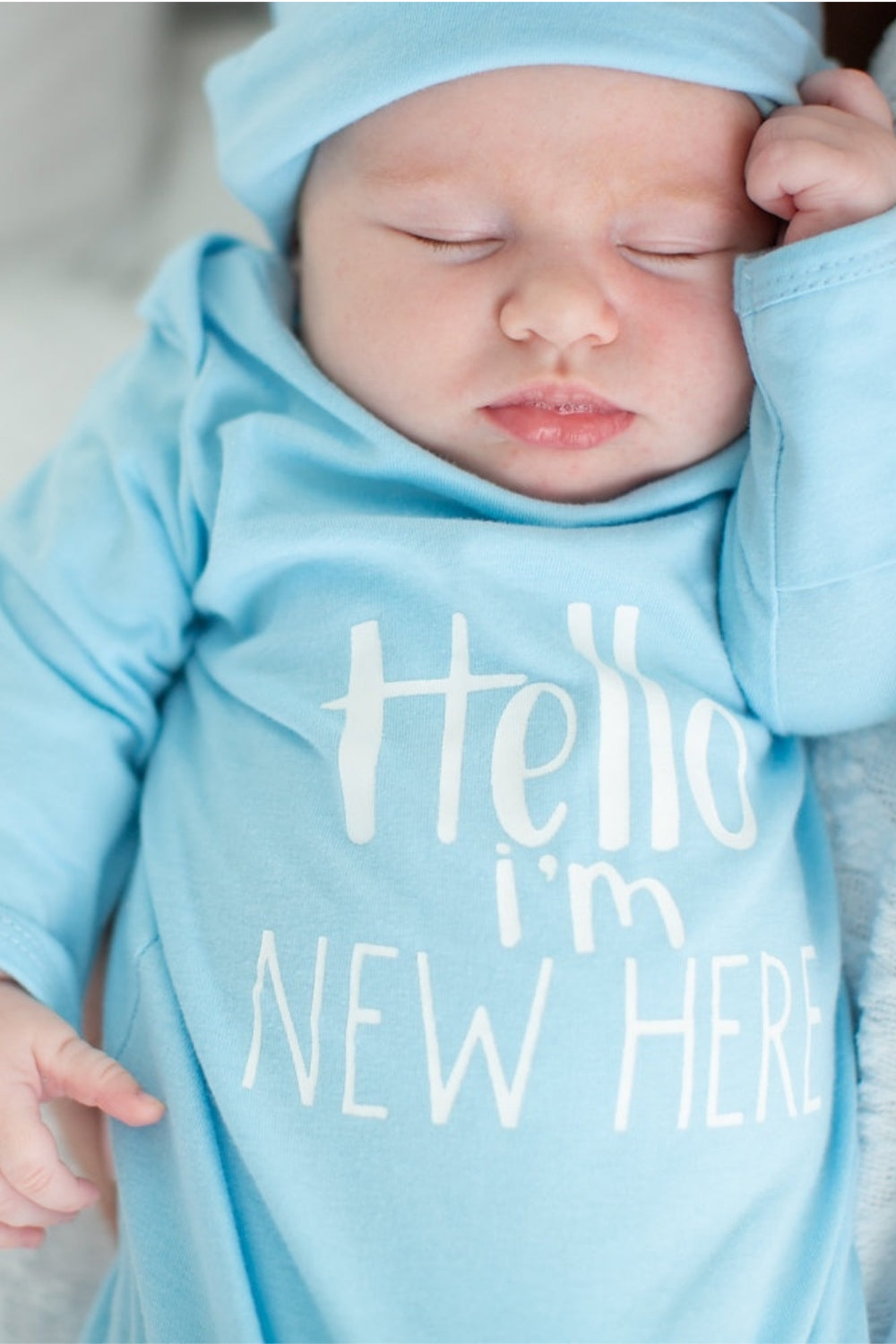 d33187b0d Hello I m New Here - Light Blue Baby Newborn Receiving Gown and Hat ...