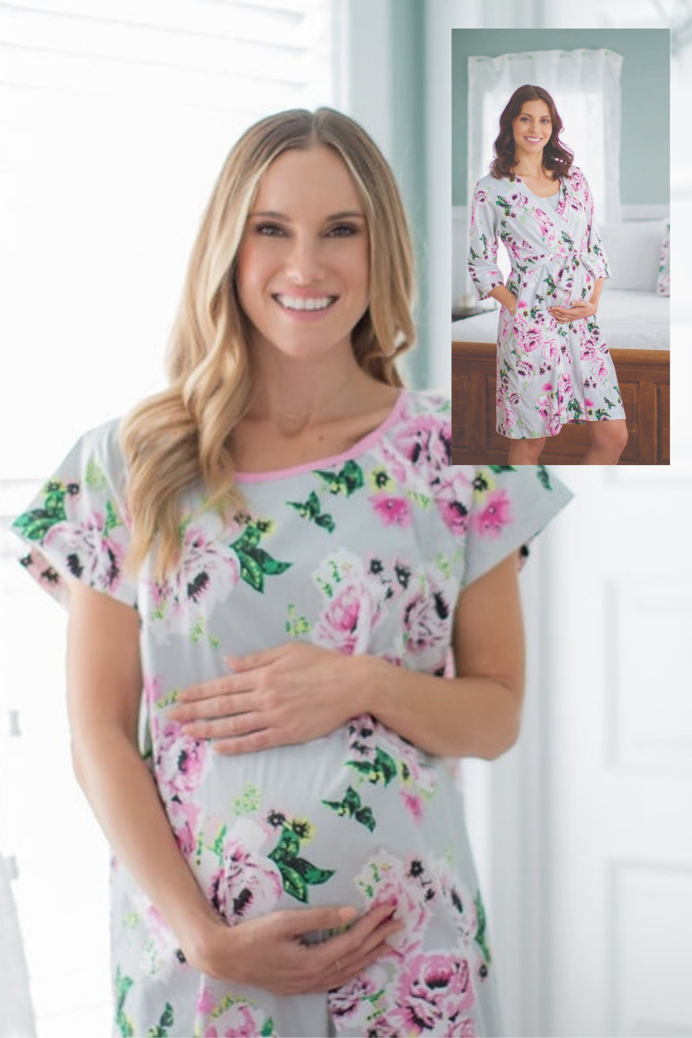 bfa4ac65ecb06 Olivia Floral Maternity Delivery Hospital Gown Gownie & Delivery Robe Set