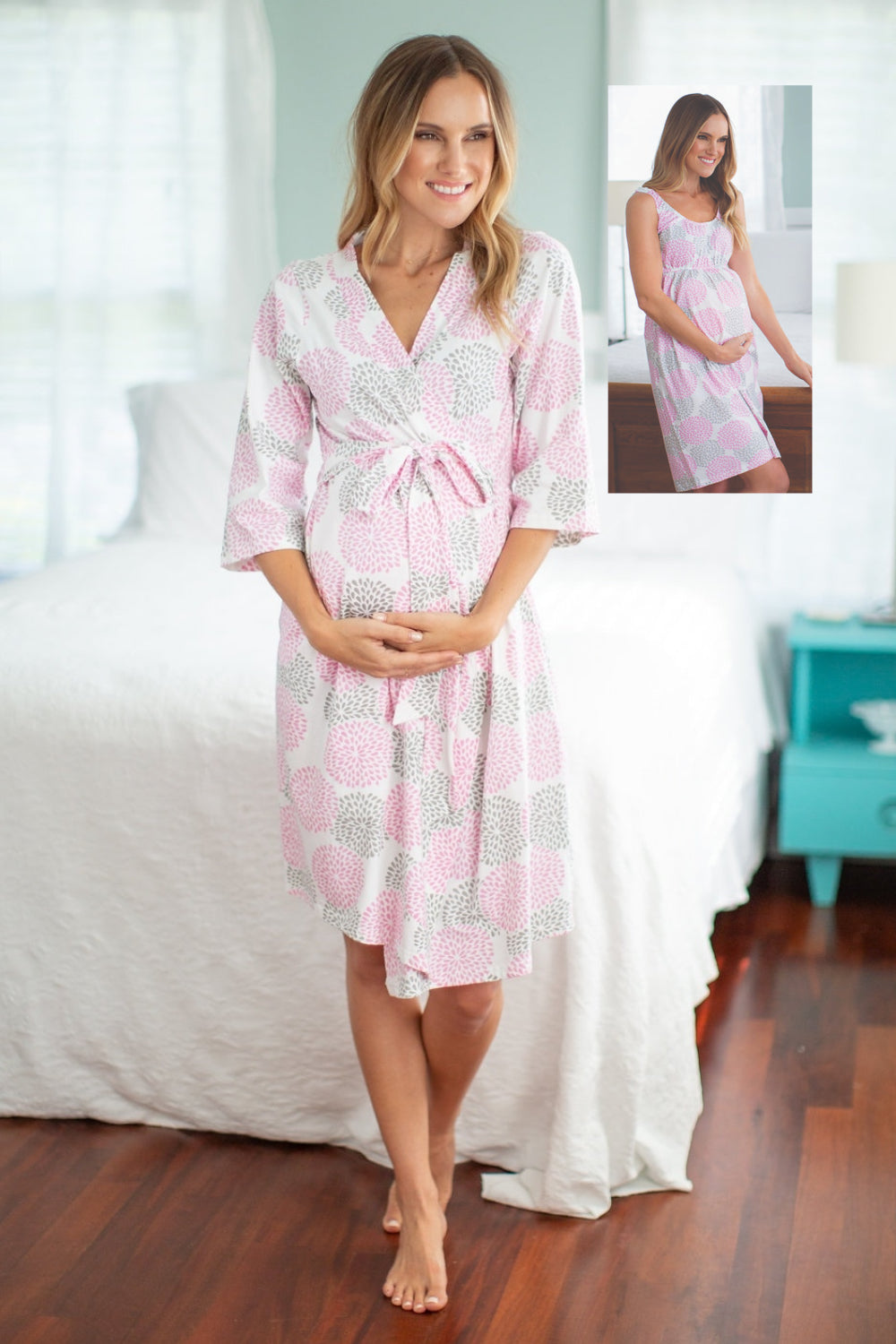 c6f08787d43 Pink Floral Grey maternity/nursing nightgown & delivery Robe – Baby ...