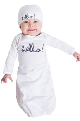 White Hello Baby Receiving Gown & Hat