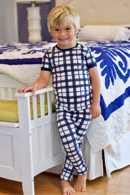 Blue Gingham Kids Lounge Set