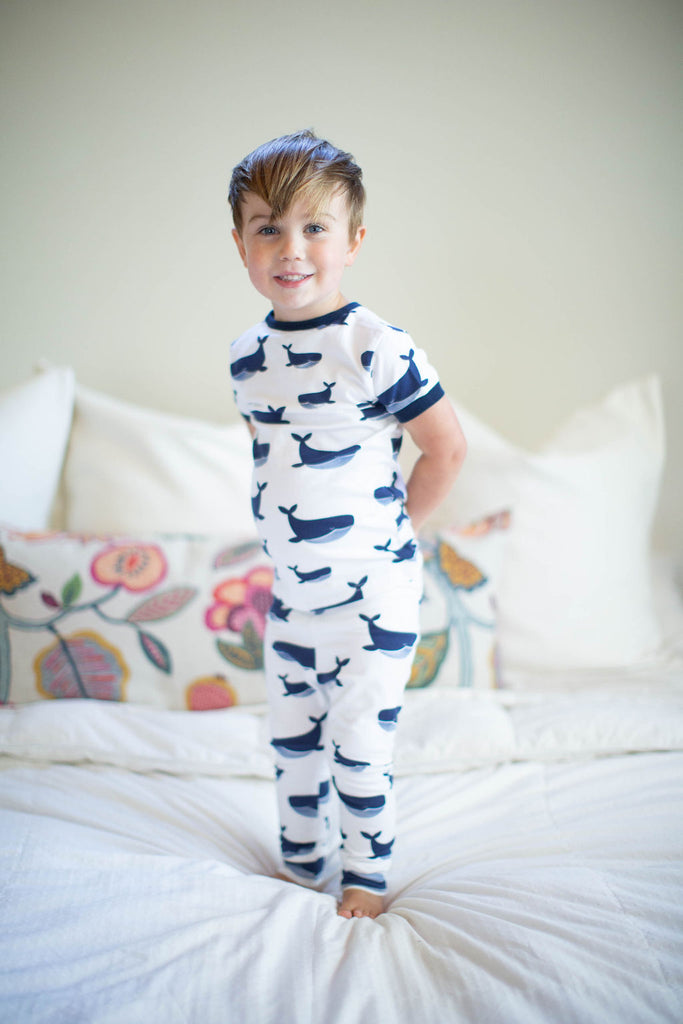 Blue Gingham Robe, Whale Swaddle Blanket Set & Whale Boy Pajama Set