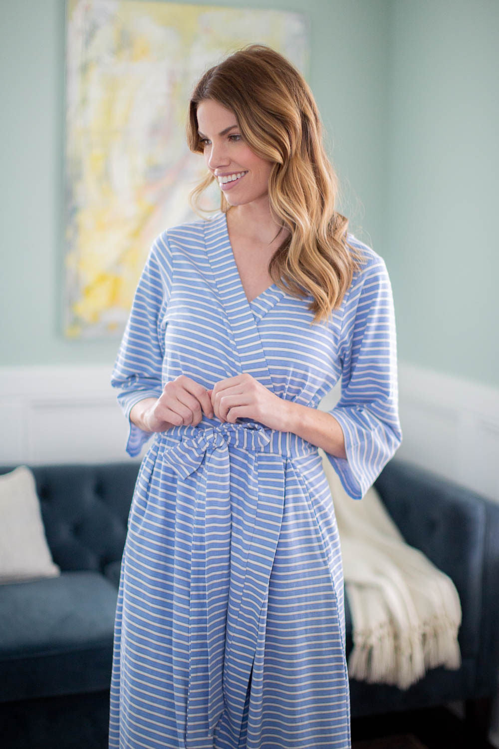 Zoe Stripe Robe & Stripe Baby Gown Set