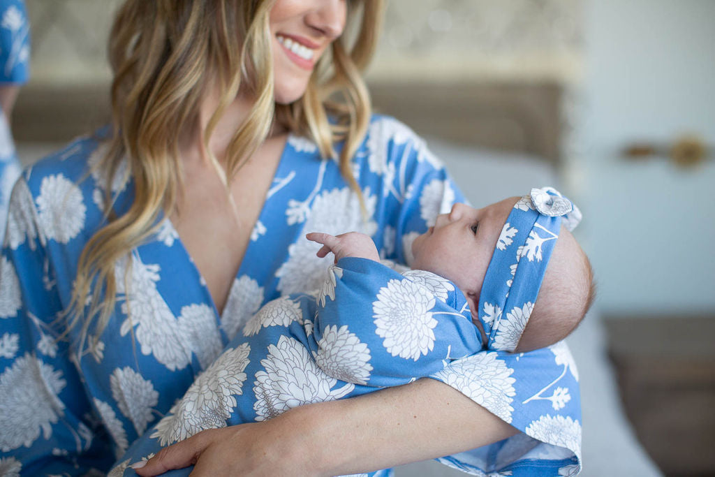 Zoe Floral Delivery Robe & Swaddle Blanket Set