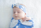 Zoe Floral Swaddle Blanket with Matching Headband