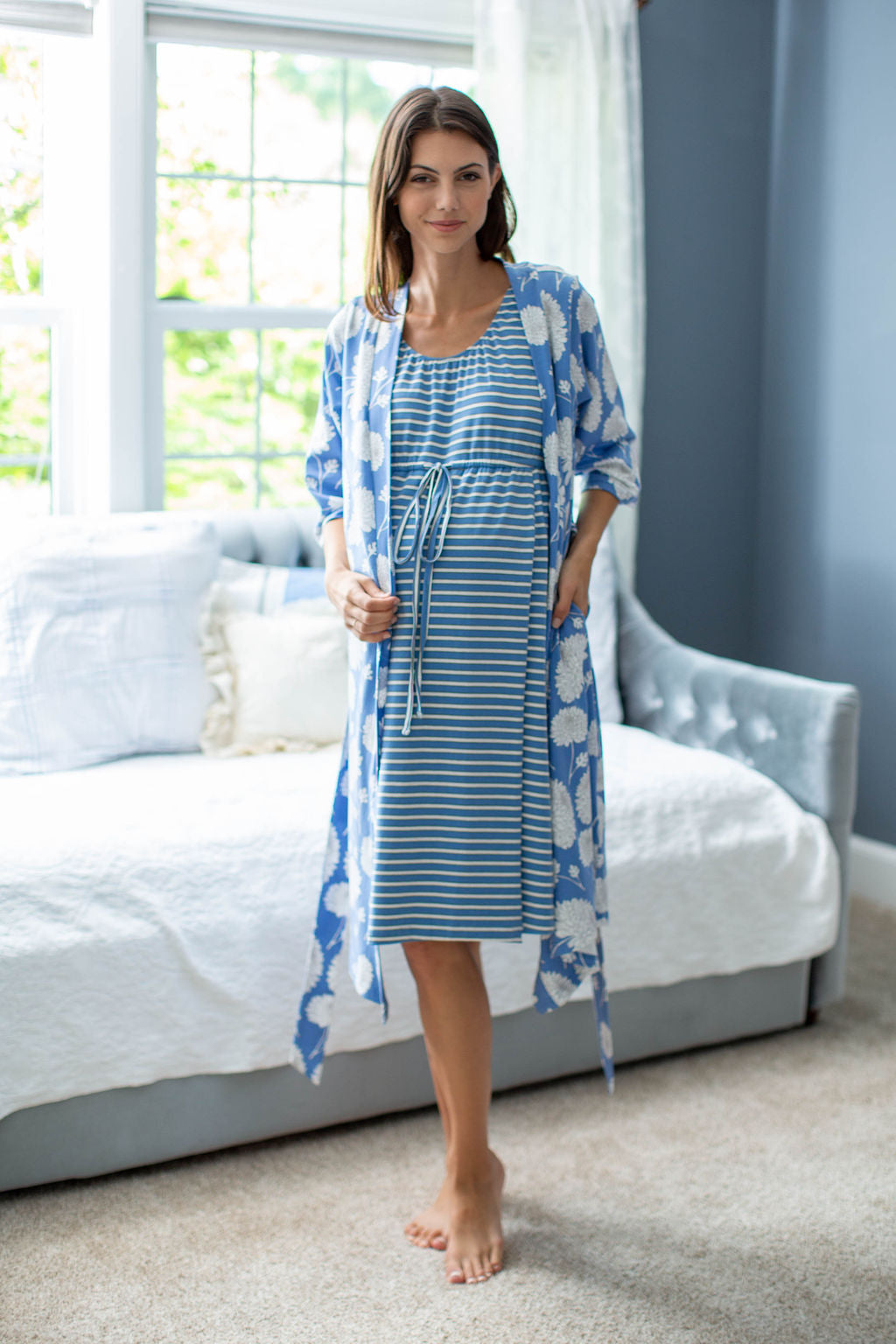 Zoe Striped Labor Gown & Zoe Floral Delivery Robe Set