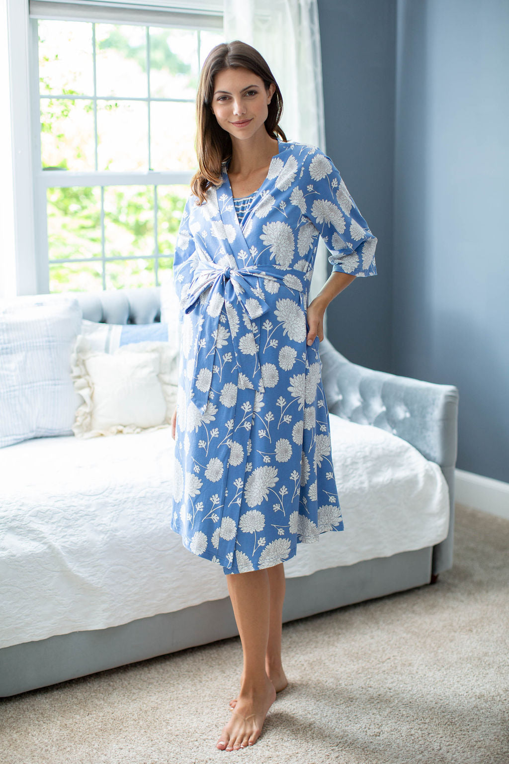 Zoe Floral Maternity Delivery Nursing Robe