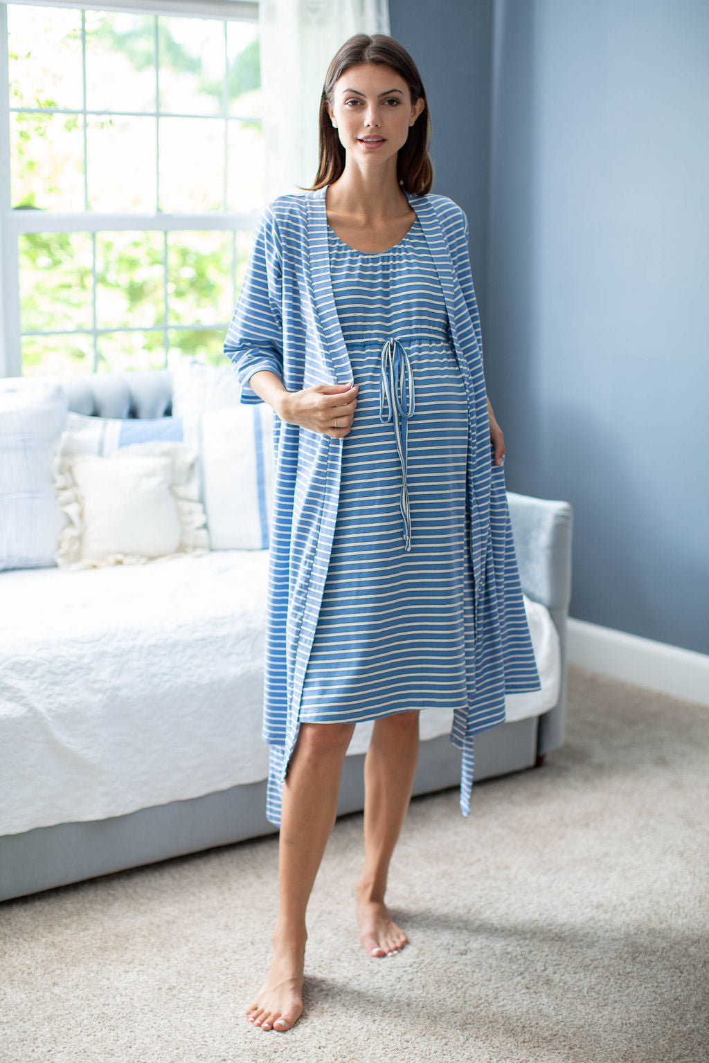 Zoe Stripe Robe & Matching Labor Gown
