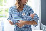 Zoe Blue Stripe Baby Gown and Newborn Hat Set