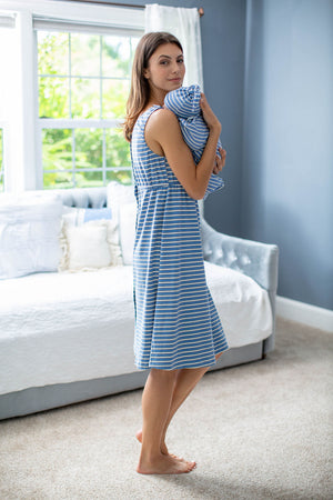 Zoe Stripe Labor Gown & Matching Baby Boy Swaddle Blanket Set