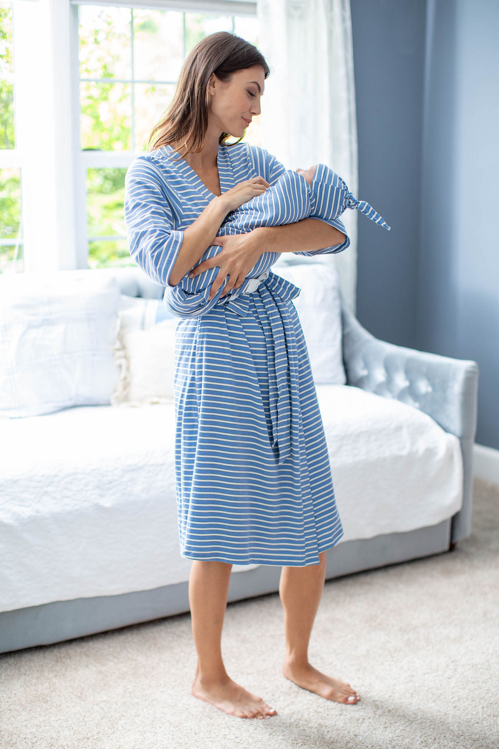 Zoe Stripe Robe & Matching Swaddle Blanket Set