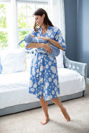 Zoe Floral Robe & Stripe Swaddle Set