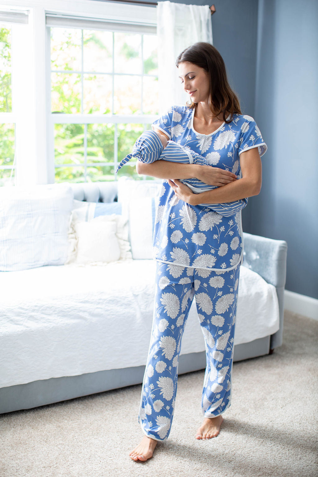 Zoe Maternity Nursing Pajamas & Baby Striped Swaddle Blanket Set