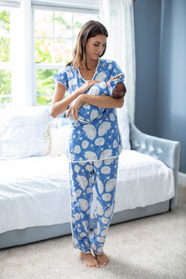 Zoe Maternity Nursing Pajamas & Baby Floral Swaddle Blanket Set