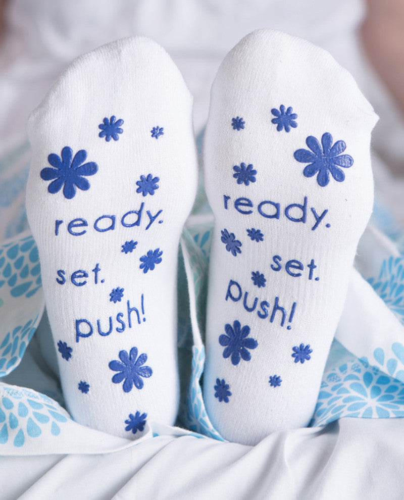 Ready. Set.Push! Labor Socks - Blue