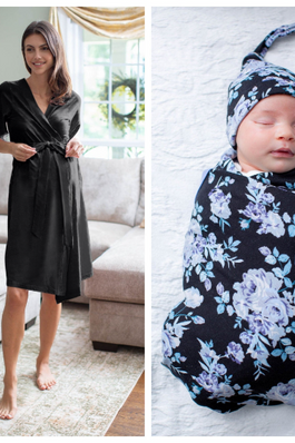Black Delivery Robe & Flore Swaddle Blanket Set