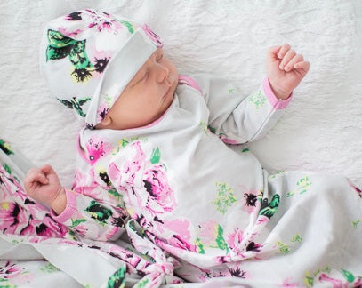 Olivia Floral Baby Coming Home Outfit and Matching Newborn Hat Set 2pc.