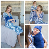 Serra Mommy & Big Sister Robe & Navy Swaddle Blanket Set